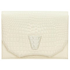YSL White x Ivory Embossed Patent Leather Clutch