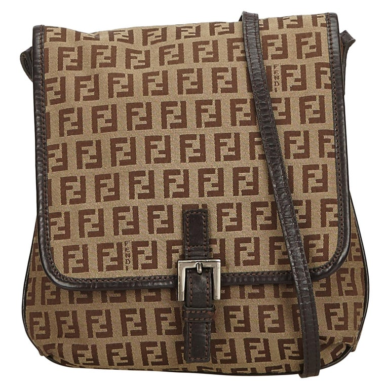 Fendi Brown Zucchino Jacquard Crossbody Bag For Sale at 1stdibs def7b7f8a1d9d