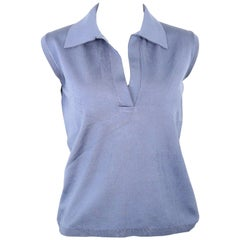 Prada Blue Silk Knitted Sleeveless Opening Collar Top