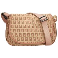 Fendi Brown x Beige x Brown Zucchino Jacquard Crossbody Bag