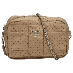 Prada Beige x Navy Nylon Polka Dot Crossbody Bag