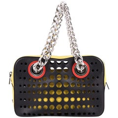 Prada City Fori Chain Shoulder Bag Perforated Calfskin Small