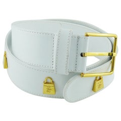 Karl Lagerfeld Vintage White Leather Belt with Gold Toned Handbags