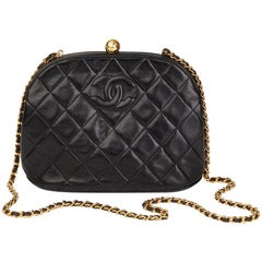 1994 Chanel Black Quilted Lambskin Vintage Timeless Frame Bag