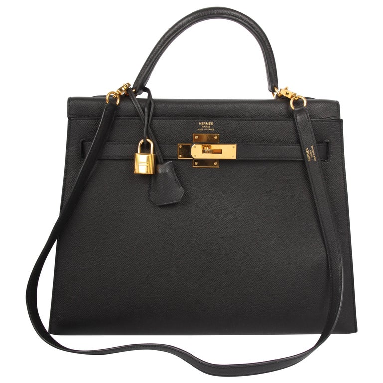 Hermes black Epsom Leather Kelly Sellier 32 Bag