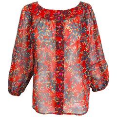 Yves Saint Laurent sheer floral cotton peasant blouse 1970s