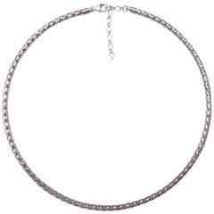 Milor Italian White Gold Fancy Round Collar Necklace