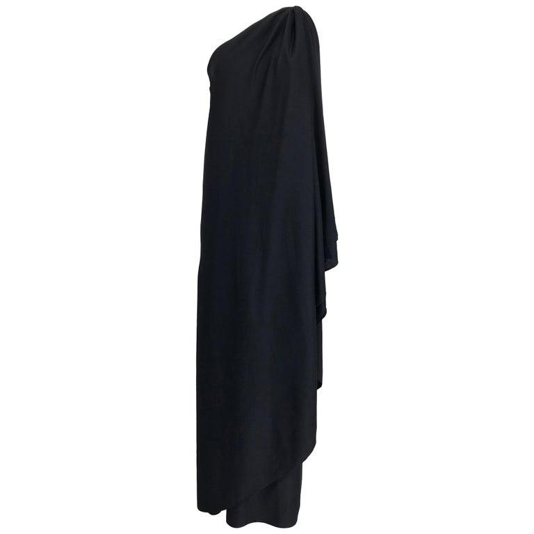 Halston one shoulder black jersey draped maxi dress  For Sale