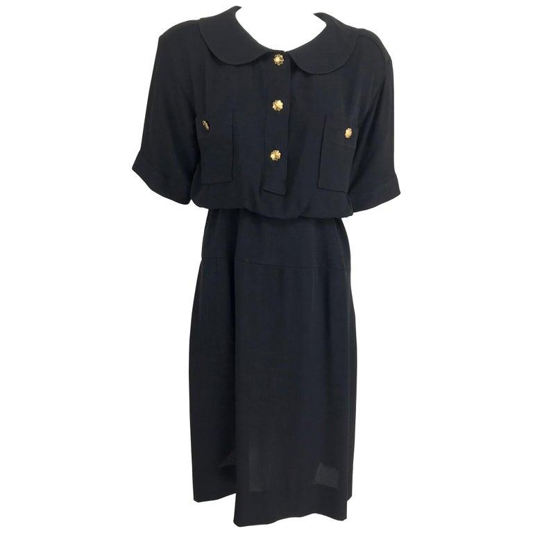 Chanel vintage black crepe shirtwaist day dress For Sale