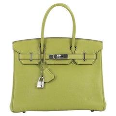 Hermes Birkin Handbag Vert Anis Togo with Palladium Hardware 30