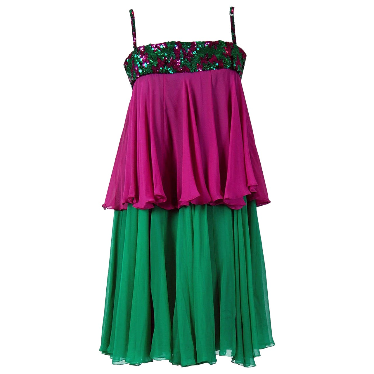 Vintage 1960's Maisonette Couture Green & Fuschia Tiered Sequin Silk Mod Dress