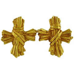 Christian Lacroix Vintage Ribbed Textured Bundle Cross Earrings