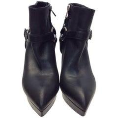 Saint Laurent Black Leather Bootie