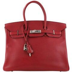 Hermes Birkin Handbag Rouge Red Buffalo Skipper with Palladium Hardware 35