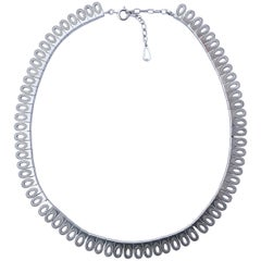 1970s Sterling Silver Shiny and Textured Oval Design Necklace, London import