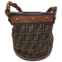 Fendi Monogram Brown Drawstring Bucket Bag