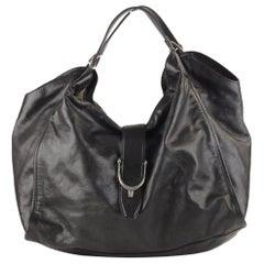 Gucci Black Leather Stirrup Hobo Bag Shoulder Bag