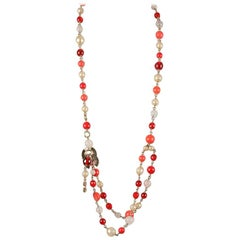 Chanel 06 Red Gripoix Beads Necklace or Belt CC Logos