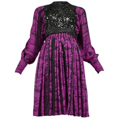 Vintage Galanos 1980s Purple & Black Stripe and Sequin Cocktail Dress