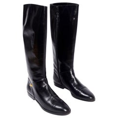 Salvatore Ferragamo Black Leather Zip Up Vintage Boots Size 7.5 AA