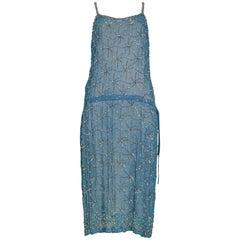 Vintage Dries Van Noten Blue Beaded Slip Dress