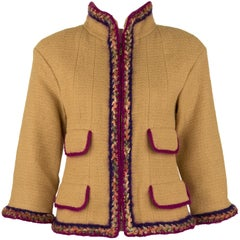 Chanel Camel Blazer with Magenta Multicolor Wool Trim - Size FR 36