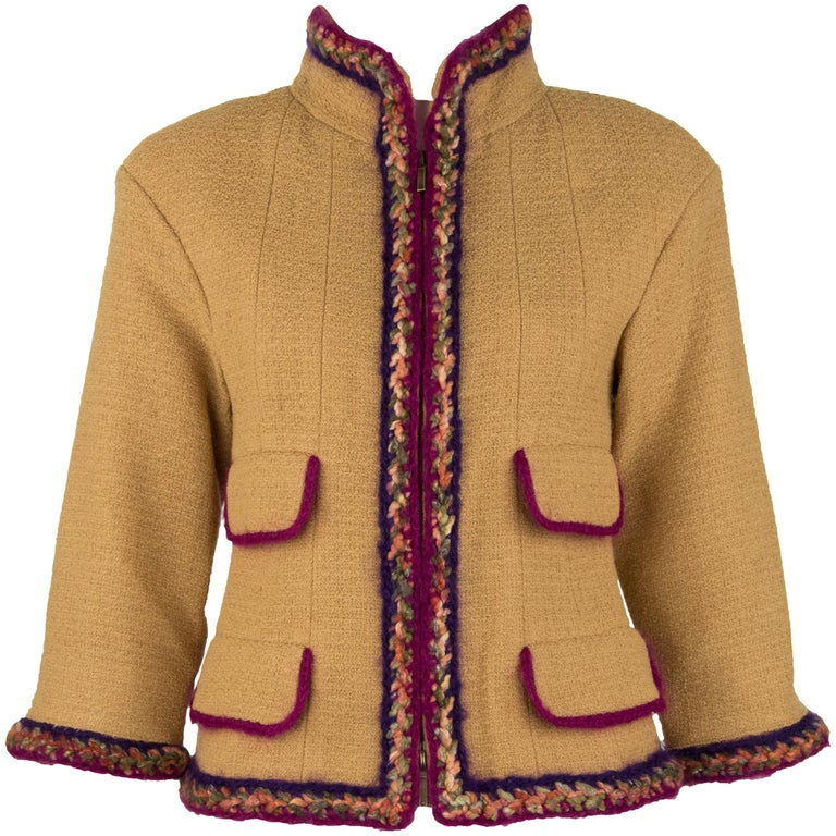 Chanel Camel Blazer with Magenta Multicolor Wool Trim - Size FR 36 For Sale