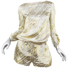 Azzaro Metallic Gold & Silver Striped Romper, Size FR 38