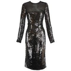Dolce & Gabbana Black Long Sleeve Sequin Dress - Size IT 40