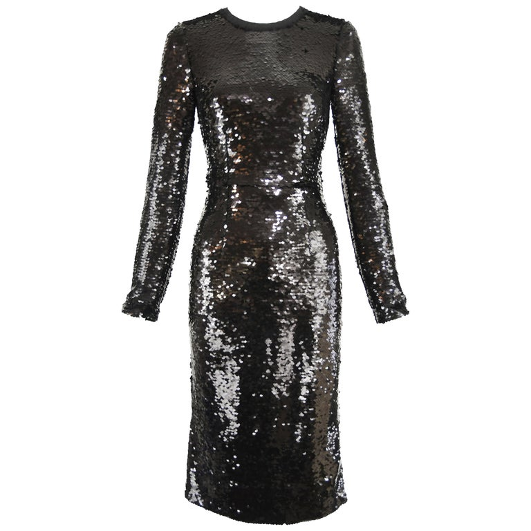 d9008dac97 Dolce and Gabbana Black Long Sleeve Sequin Dress - Size IT 40 For ...
