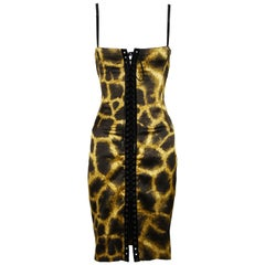 Dolce & Gabbana Giraffe Print Silk Lace Up Dress - Size IT 40