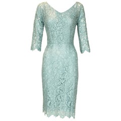 Dolce & Gabbana Light Blue Lace Sheath Dress - Size IT 40