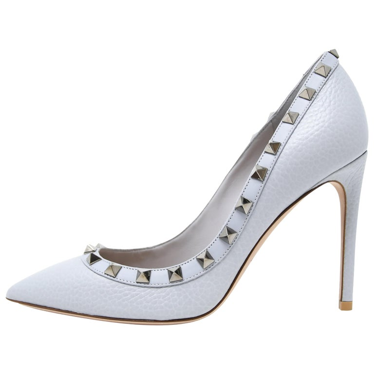 eae5c11f721e Valentino Rock Stud Light Blue Pebbled Leather Pumps - Size 36 1 2 For Sale