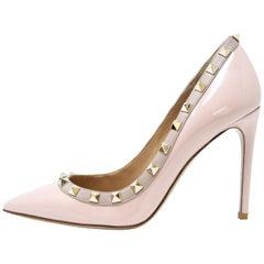 Valentino Rock Stud Light Pink Patent Leather Pumps - Size 36 1/2