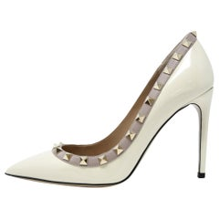 Valentino Rock Stud Off White Patent Leather Pumps - Size 36 1/2
