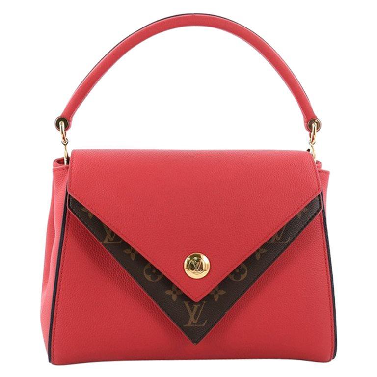 9656999b7f8 Louis Vuitton Double V Handbag Calfskin and Monogram Canvas