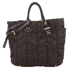 Prada Convertible Side Pocket Tote Chevron Tessuto Large