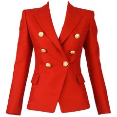 Balmain Red Double Breasted Blazer - Size FR 34 & 36