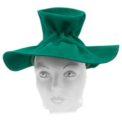 1930s Kelly Green Handmade Beaver Felt Hat