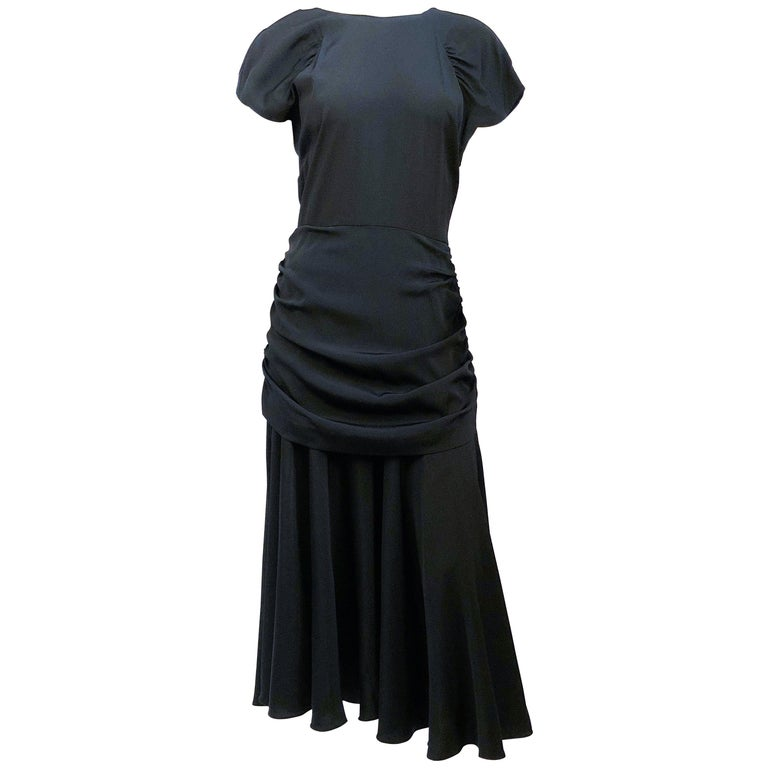 1980's Black Rouched Dress with Double Flounces on the Back For Sale