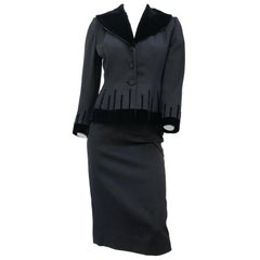1940's Lilli Annette Black Suit With Velvet Accents