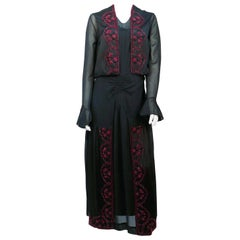 1920s Black Silk Chiffon Dress and Vest with Hand Beading Detail