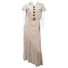 1930s Brown Plaid Day Dress with Matching Belt