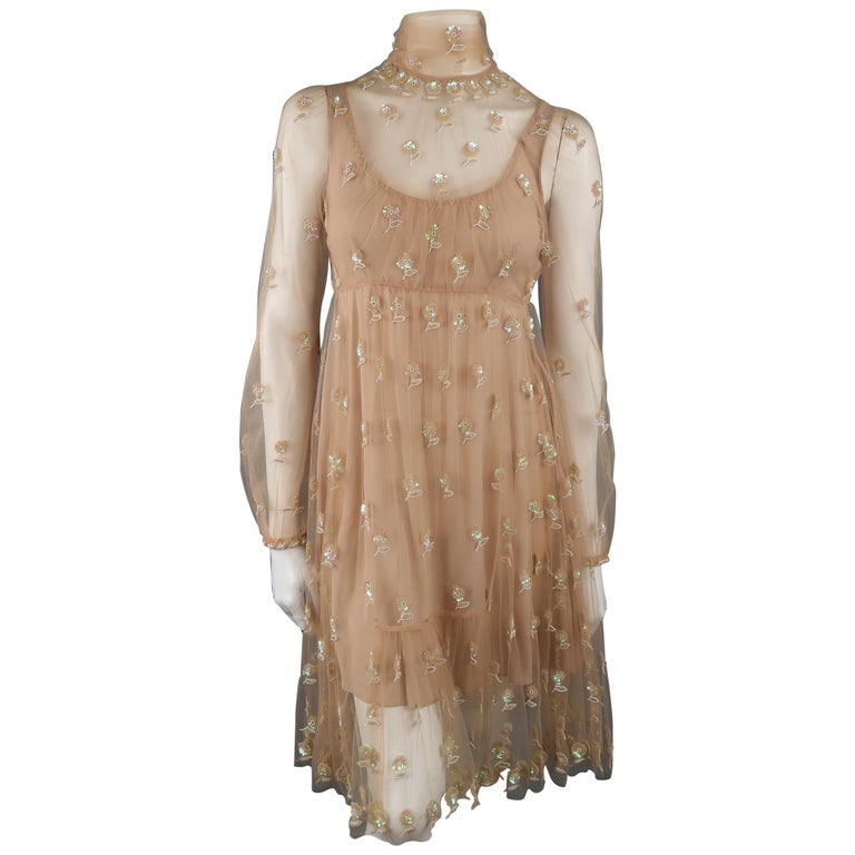 Valentino Dress - Tan Floral Beaded Tulle Scarf Cocktail Dress For Sale