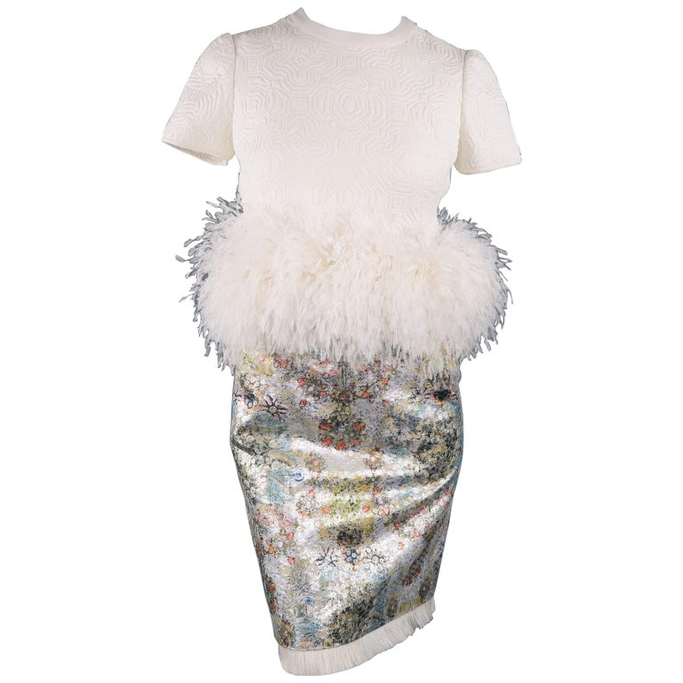 Ralph Rucci White Silk Feathered Cocktail Dress, Fall 2013 Runway For Sale