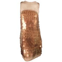 Ralph Rucci Copper Paillette Sequin Silk Chiffon Sleeveless Cocktail Dress