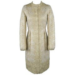 GIAMBATTISTA VALLI Metallic Gold Cotton / Silk Lace Overlay Cocktail Coat-Dress