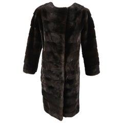 KAUFMAN FRANCO Coat -  Size 8 Dark Brown Mink Fur & Black Leather Jacket