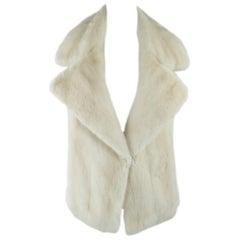 AGNONA Size S Beige Mink Pointed Lapel Backless Cutout Strap Vest