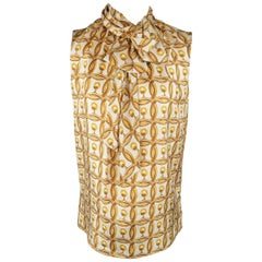 MOSCHINO Size 6 Gold & Cream Hoop Earring Print Silk Bow Dress Top